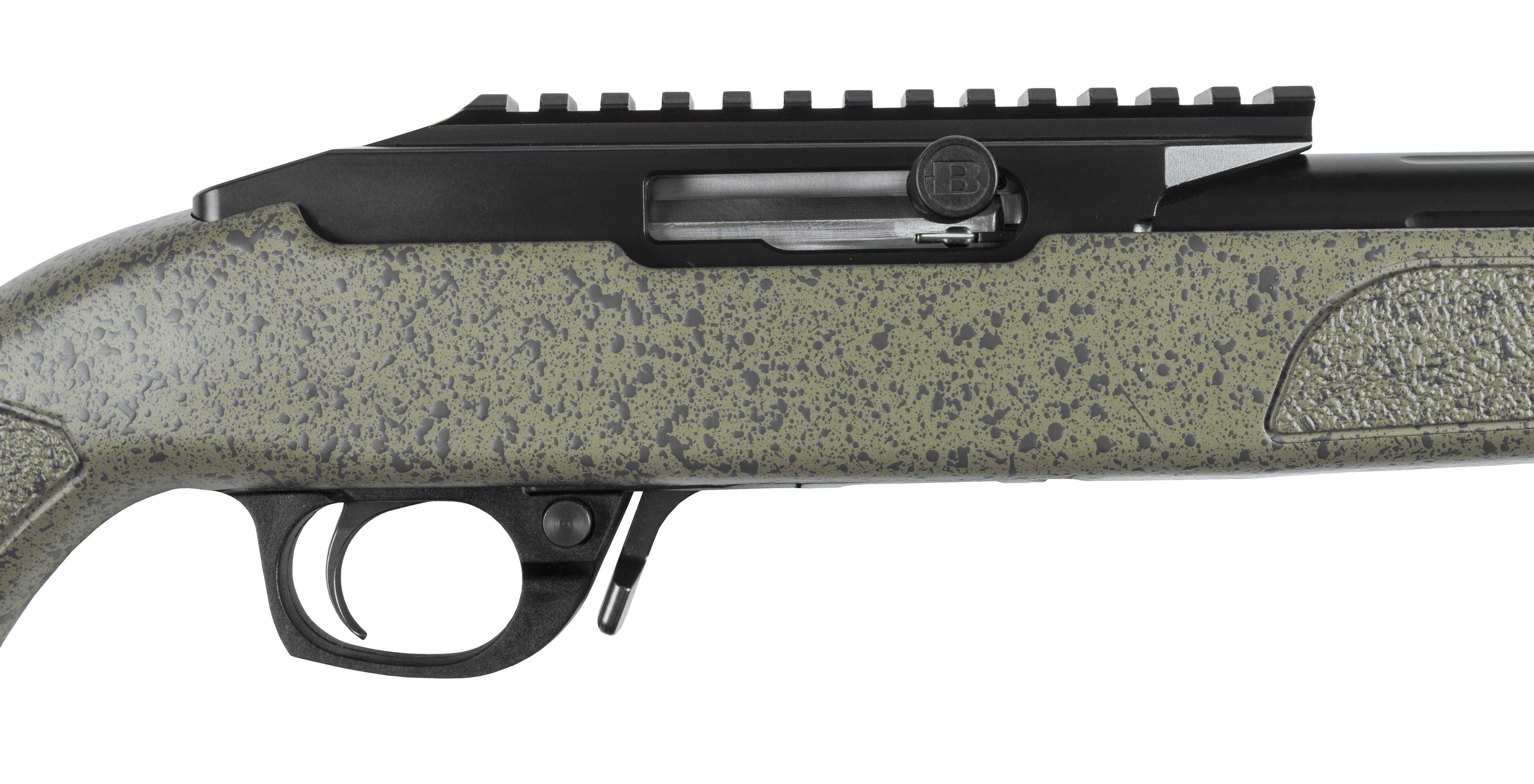BXR .22 Blued Barrel Green Stock Action Closed 1