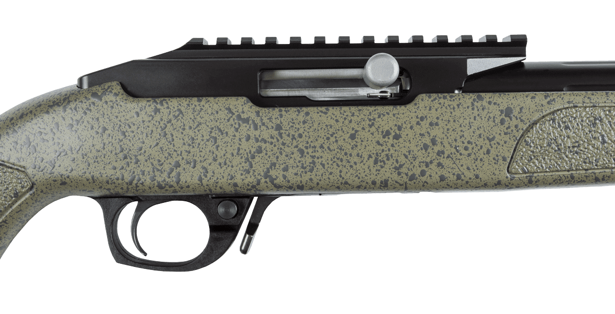 BXR .22 Blued Barrel Green Stock Action Closed